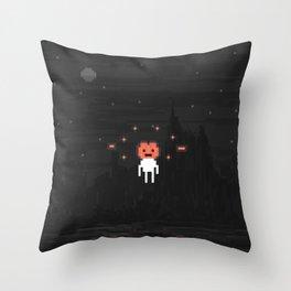 Hovering Halloween pumpkin head Throw Pillow