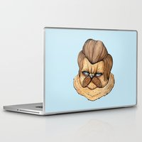 swanson Laptop & iPad Skins featuring Ron Swanson Cat by Julia Emiliani
