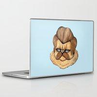 ron swanson Laptop & iPad Skins featuring Ron Swanson Cat by Julia Emiliani