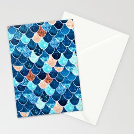 REALLY MERMAID BLUE & GOLD Stationery Cards