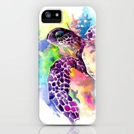 Sea Turtle in Coral Reef, tropical colors sea world purple yellow blue turtle art, turtle illustrati iPhone Case