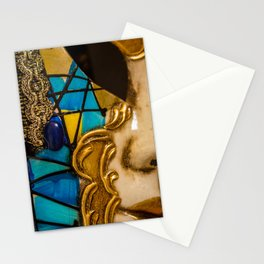 Close-up of a Venetian carnival mask with black and blue feathers. Stationery Cards