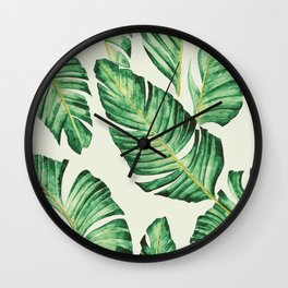 Banana leaves in pastel colours Wall Clock