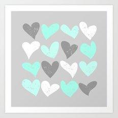 Mint white grey grunge hearts Art Print