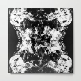 Electrifying black and white sparkly triangle flames Metal Print