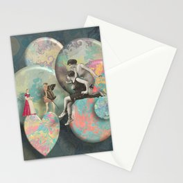 Love on a marbled galaxy Stationery Cards