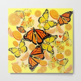 YELLOW MONARCH BUTTERFLY  & ORANGES MARMALADE Metal Print