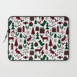 Plaid antler deer stocking christmas pudding christmas trees candy canes Laptop Sleeve