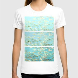 Vincent Van Gogh Almond Blossoms  Panel arT Aqua Seafoam T-shirt