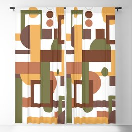 Abstract vintage geometric pattern brown green Blackout Curtain