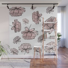 Hand Drawn Peonies Dusty Rose Wall Mural