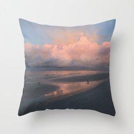 Morning Walk on the Beach Throw Pillow