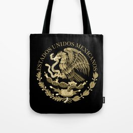 Mexican flag seal in sepia tones on black bg Tote Bag
