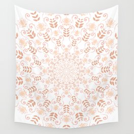 Rosey peach spring floral mandala Wall Tapestry