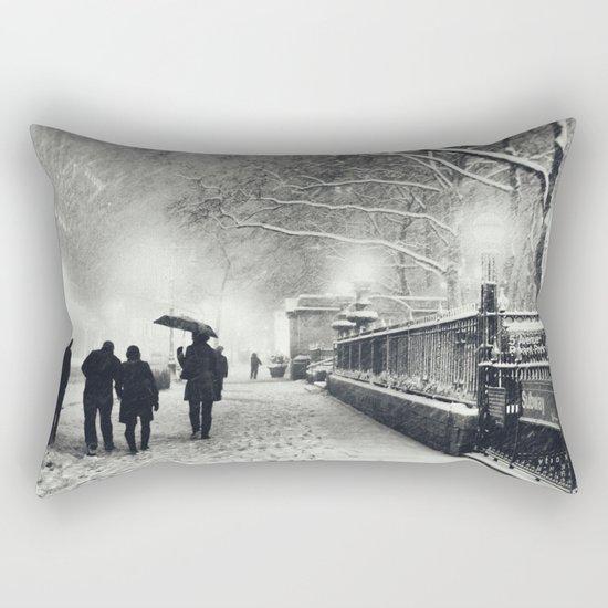 New York City Snow Bryant Park Rectangular Pillow