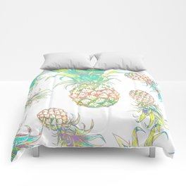 Colored pencil pineapple pattern tropical fruit design Comforters