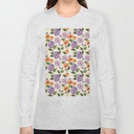 Rustic orange lavender ivory floral illustration Long Sleeve T-shirt