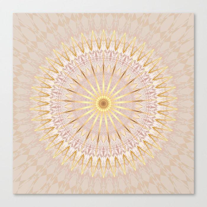 Beige Gold Mandala Medallion Canvas Print