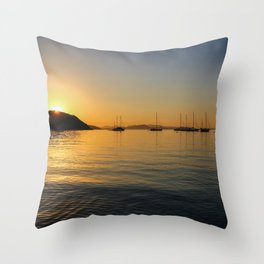 Sardinia Sunset at Capo Coda Cavallo Throw Pillow