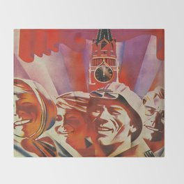 Labour communist propaganda in soviet union cccp sssr Throw Blanket