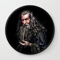 gandalf Wall Clocks featuring Gandalf  by DavinciArt