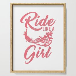Ride Like A Girl Distressed Dirt Bike Rider Street Racing Extreme Sports Gift Serving Tray