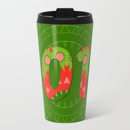 2017 year illustration decorated with abstract  decorative pattern in green and red colors. Travel Mug