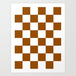 Large Checkered - White and Brown Art Print