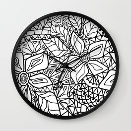 Black and white lace pattern 2 Wall Clock