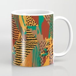 Geometrical orange brown green abstract safari animal print Coffee Mug