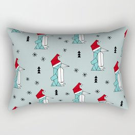 Santa penguins winter wonderland christmas theme illustration origami pattern Rectangular Pillow