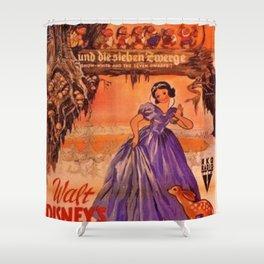 1937 Vintage Snow White and the Seven Dwarfs German Market Movie Poster Shower Curtain