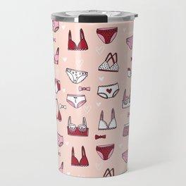 undies hand drawn andrea lauren pattern underwear lingerie pink Travel Mug