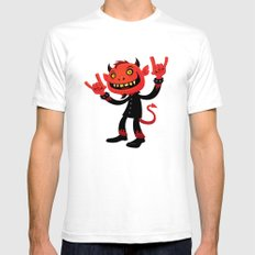 Heavy Metal Devil Mens Fitted Tee SMALL White