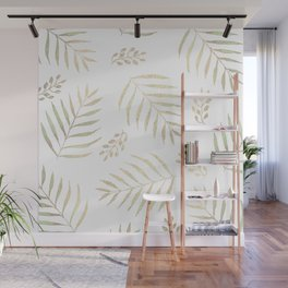 Christmas golden trees pattern Wall Mural