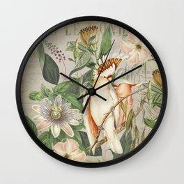 Cockatoos Tropical Jungle World Botanical Illustration Wall Clock