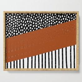 Polka Dots and Stripes Pattern (black/white/burnt orange) Serving Tray