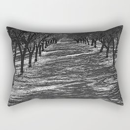 Black & White Almond Orchard Pencil Drawing Photo Rectangular Pillow