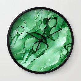 #028 - Monochrome Ink in Green Wall Clock