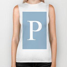 Letter P sign on placid blue background Biker Tank