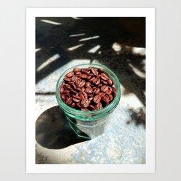 Coffee Beans in Manson Jar Art Print