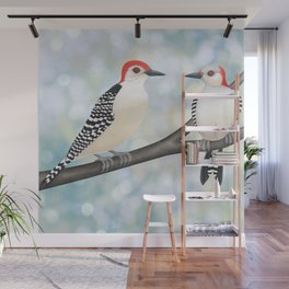 red bellied woodpeckers and bokeh Wall Mural