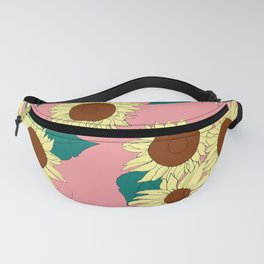Yellow Sunflowers in Pink Pattern Design Fanny Pack
