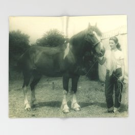 A Girl and her 4-H Horse 1943 Throw Blanket