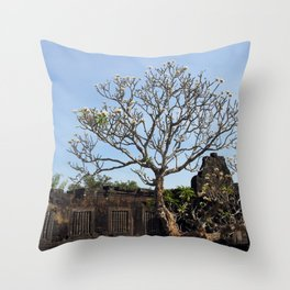 Khmer Temple Facade and Flowering Tree, Champasak, Laos Throw Pillow