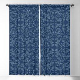 Floral leaf damask motif sashiko style. Blackout Curtain