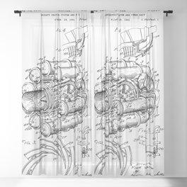 Jet Engine: Frank Whittle Turbojet Engine Patent Sheer Curtain