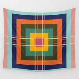 Fine Lines on Retro Colored Squares Wall Tapestry