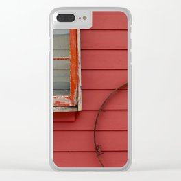 Colorful Red and Pantone Coral Building Exterior Clear iPhone Case