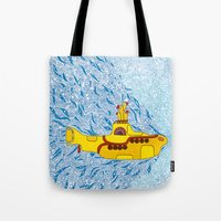 yellow submarine Tote Bags featuring My Yellow Submarine by Cris Couto